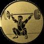 Emblem 25mm Gewichtheber Reissen, gold