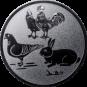 Emblem 25mm Hahn, Henne, Taube, Hase, silber