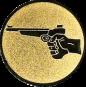 Emblem 25mm Hand mit Pistole, gold schießen