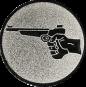 Emblem 50mm Hand mit Pistole, silber schießen