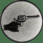Emblem 50mm Hand mit Revolver, silber schießen
