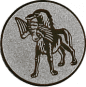 Emblem 50mm Hund apportiet Vogel im Maul, silber