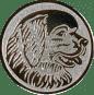 Emblem 25mm Hundekopf, silber
