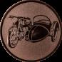 Emblem 25mm Motorrad mit Beiwagen, bronze
