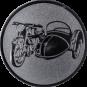 Emblem 25mm Motorrad mit Beiwagen, silber