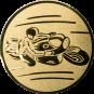 Emblem 25mm Motorradfahrer 1, gold