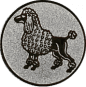 Emblem 50mm Pudel, silber