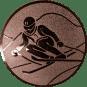 Emblem 25mm Skifahrer in Hocke, bronze