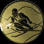Emblem 25mm Skifahrer in Hocke, gold