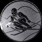 Emblem 25mm Skifahrer in Hocke, silber
