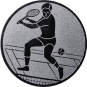 Emblem 25mm Tennisspieler, silber