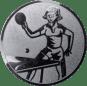 Emblem 25mm Tischtennisspielerin, silber