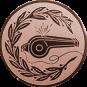 Emblem 25mm Trillerpfeife m. Kranz, bronze