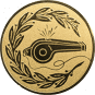 Emblem 50mm Trillerpfeife m. Kranz, gold