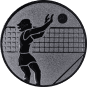 Emblem 25mm Volleyballer Block, silber