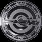 Emblem 25mm Zielsch. mit Armbrust, silber schießen