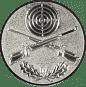 Emblem 50mm Zielsch. mit Gewehren u. Eichenlaub, silber schießen