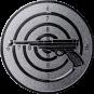 Emblem 25mm Zielsch. mit Pistole, silber schießen