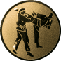 Emblem 50 mm 2 Karatekämpfer, gold