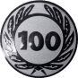 Emblem 50 mm Ehrenkranz mit 100, silber