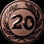 Emblem 50 mm Ehrenkranz mit 20, bronze