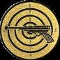 Emblem 50 mm Zielsch. mit Pistole, gold schießen