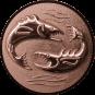 Emblem 50mm 2 Fische 3D, bronze
