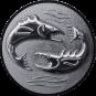 Emblem 50mm 2 Fische 3D, silber