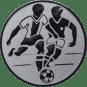 Emblem 50mm 2 Fußballer, silber