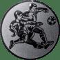 Emblem 50mm 2 Fußballspieler m. Ball, silber