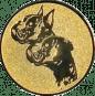 Emblem 50mm  2 Hundeköpfe, gold