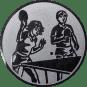 Emblem 50mm 2 Tischtennisspieler Mix, silber