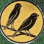 Emblem 50mm 2 Vögel rechts, gold