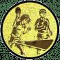 Emblem 50mm 2Tischtennisspieler Mix, gold