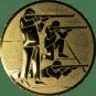 Emblem 50mm 3 Schützen s,k,l, gold schießen