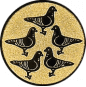 Emblem 25mm 5 Tauben, gold