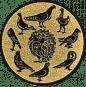 Emblem 25mm 9 Tauben (Kreis), gold