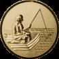 Emblem 50mm Angler im Boot 3D, gold