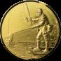 Emblem 50mm Angler mit Kescher links 3D, gold