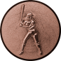 Emblem 50mm Baseball Spielerin, 3D bronze