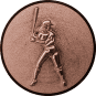 Emblem 25mm Baseball Spielerin, bronze