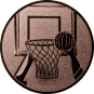 Emblem 50mm Basketball m. Korb 2, bronze