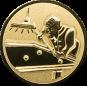 Emblem 50mm Billardspieler rechts 3D, gold