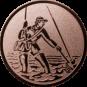 Emblem 50mm Fliegenangerler im Wasser, bronze