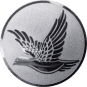 Emblem 25mm fliegende Taube, silber