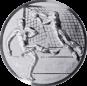Emblem 50mm Fußballer, Torwart, Tor, 3D, silber