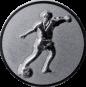 Emblem 50mm Fußballspieler m. Ball, silber
