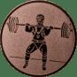 Emblem 50mm Gewichtheber Stossen, bronze