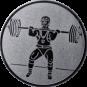 Emblem 50mm Gewichtheber Stossen, silber