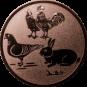Emblem 50mm Hahn, Henne, Taube, Hase, bronze